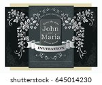 wedding invitation luxury card... | Shutterstock .eps vector #645014230