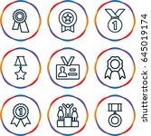medal icons set. set of 9 medal ... | Shutterstock .eps vector #645019174