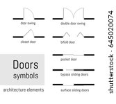 set of simple vector door ... | Shutterstock .eps vector #645020074