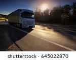 truck transportation at sunset   Shutterstock . vector #645022870