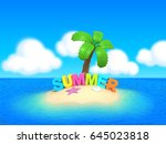 3d render of a cute island with ... | Shutterstock . vector #645023818