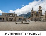 bolivar square with cathedral... | Shutterstock . vector #645025324