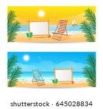 set of vector summer travel... | Shutterstock .eps vector #645028834