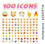 set of 100 cute icons on white... | Shutterstock .eps vector #645029716