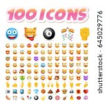 set of 100 cute icons on white... | Shutterstock .eps vector #645029776