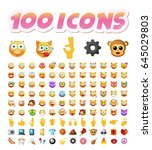 set of 100 cute icons on white... | Shutterstock .eps vector #645029803