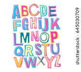 alphabet poster  dry brush ink... | Shutterstock .eps vector #645030709