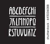 alphabet  narrow tall letters... | Shutterstock .eps vector #645036088
