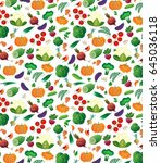 pattern with colored vegetables.... | Shutterstock .eps vector #645036118