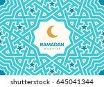 ramadan mubarak beautiful... | Shutterstock .eps vector #645041344