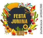 festa junina cartoon background ... | Shutterstock .eps vector #645041980