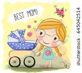 greeting card best mom with... | Shutterstock .eps vector #645042514