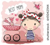 greeting card best mom with... | Shutterstock .eps vector #645042544