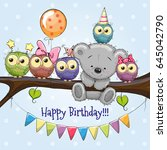 five owls and a bear on a... | Shutterstock .eps vector #645042790