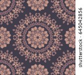 seamless round ornament pattern.... | Shutterstock .eps vector #645042856