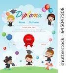 certificates kindergarten and... | Shutterstock .eps vector #645047308