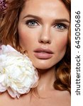 woman with flowers. beauty.... | Shutterstock . vector #645050686