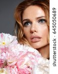 woman with flowers. beauty.... | Shutterstock . vector #645050689