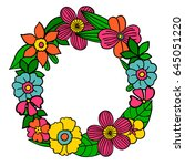 circle hand drawn flower... | Shutterstock .eps vector #645051220