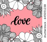 hand drawn flower frame with... | Shutterstock .eps vector #645051238
