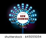theater sign and neon light... | Shutterstock .eps vector #645055054