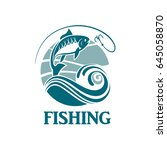 illustration of fishing emblem... | Shutterstock .eps vector #645058870