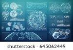 3d rendering digital charts and ... | Shutterstock . vector #645062449