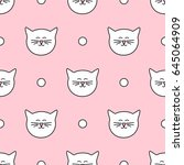 tile pattern with cats on pink... | Shutterstock . vector #645064909