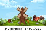 background with mill  in farm... | Shutterstock .eps vector #645067210