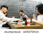 group of friends studying and... | Shutterstock . vector #645070414