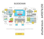 blockchain concept finance... | Shutterstock .eps vector #645076150