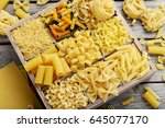 different kinds of pasta on... | Shutterstock . vector #645077170