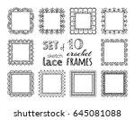 vector set of 10 sketch lace... | Shutterstock .eps vector #645081088
