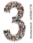 number three 3 group of people... | Shutterstock . vector #645081778
