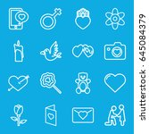 love icons set. set of 16 love... | Shutterstock .eps vector #645084379