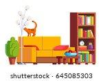 modern minimalist design room... | Shutterstock .eps vector #645085303