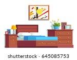 modern minimalist design room... | Shutterstock .eps vector #645085753