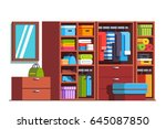 wardrobe dressing room interior ... | Shutterstock .eps vector #645087850