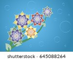 large beautiful flowers on a... | Shutterstock .eps vector #645088264