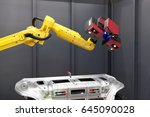 Small photo of Robotic arm with 3D scanner. Automated scanning.