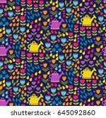 adorable nice cute floral... | Shutterstock .eps vector #645092860