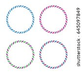 four striped gymnastic hoops.... | Shutterstock .eps vector #645097849