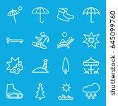 season icons set. set of 16... | Shutterstock .eps vector #645099760