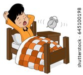 kid wake up in the morning... | Shutterstock .eps vector #645100198