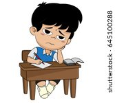 kid boring about someting.back... | Shutterstock .eps vector #645100288