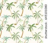 seamless tropical palms pattern.... | Shutterstock .eps vector #645101080