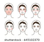 woman take care about face.... | Shutterstock .eps vector #645102370