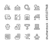 set line icons of logistics...