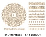 set of decorative brushes with... | Shutterstock .eps vector #645108004