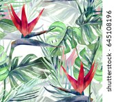 exotic plant seamless pattern....   Shutterstock . vector #645108196